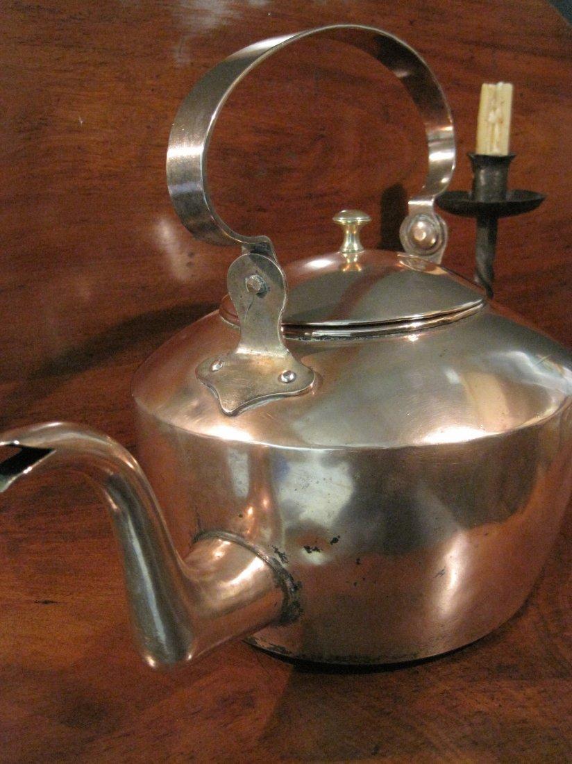 American Copper Dovetailed Goose Neck Tea Kettle 1700s - 8