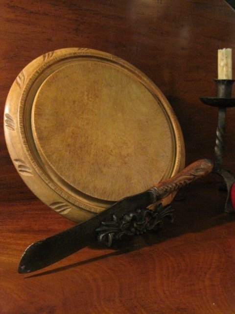 Carved Bread Board & Hallmarked Knife Ca 1800s