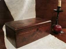 Folk Art Patriotic Wooden Box Inlayed Designs Ca 1850s