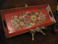 Pennsylvania Toleware Tin Painted Floral Tray Ca 1800s