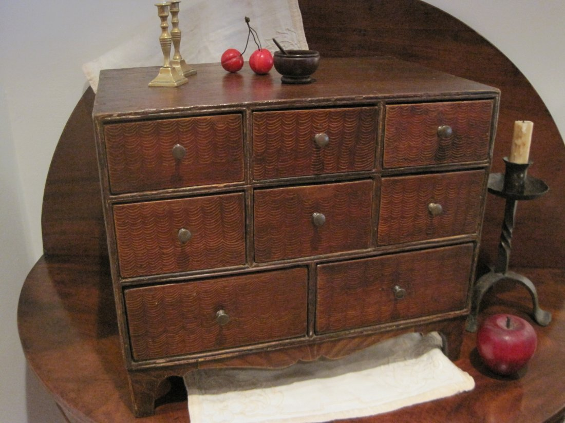 Colonial Painted Dovetailed Spice Chest Ca 1730s