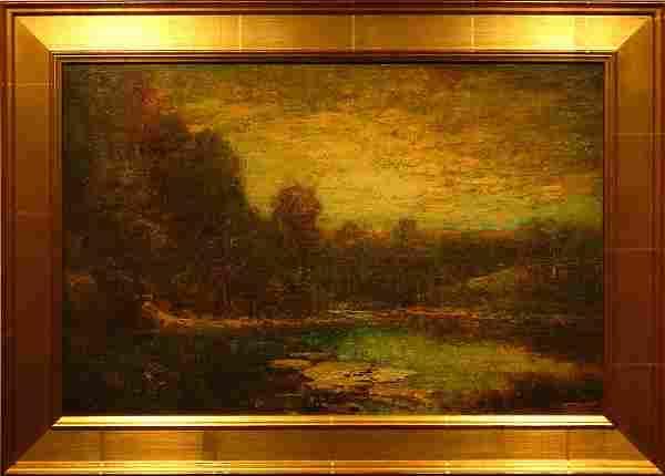 Hudson Mindell Kitchell: Sunset At Pond Oil Painting