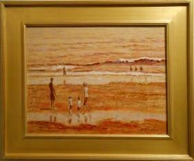 Bruce Wood: Contemporary Tonalist Marine/ Beach Oil