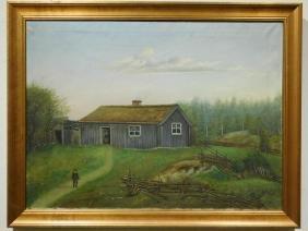 Lundbom: Antique Primitive Landscape Oil Painting