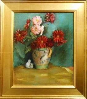 Harold Rotenberg: Floral Still Life With Cat, Oil