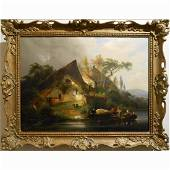 Antique Continental Boaters & Smokers c.1840 Oil