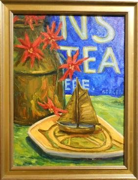 Ronald Seager: Oil Still Life With Tea Sign