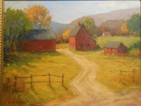 Ronald Seager: Red Farm Summer Oil Painting
