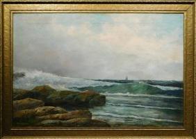 Felicion Maczik: Seascape, c.1890 Oil Painting
