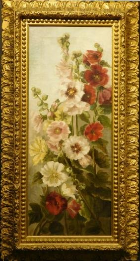 American School: Hollyhocks, oil c.1880