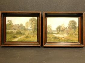 Pair of c.1900 Oil Painting Landscapes