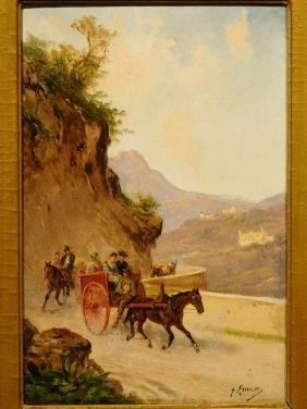 Franz Krause: Travellers on a Mountain Road, c.1860