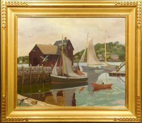 Laurence B. Wright: Rockport Motif #1 Oil Painting