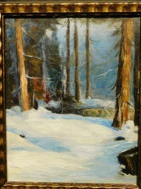 Woods in Snow, c.1940 oil painting
