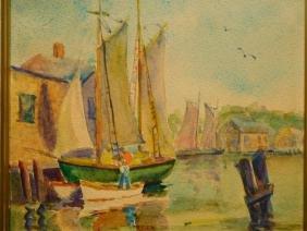 Rosa T. Silva: New Bedford Sail Boats, Watercolor