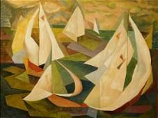 Herbert Lourie: Sail Boats, Oil c.1960