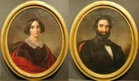 Pair of Antique Oval 19th Century American Portraits