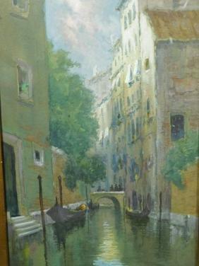 Frederic A. MacNeal: A Canal in Venice, gouache, c.1900