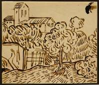 Vincent Van Gogh: Landscape with Tree, ink drawing