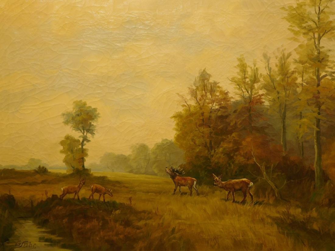 G.Suhr: Landscape with Deer, c.1950