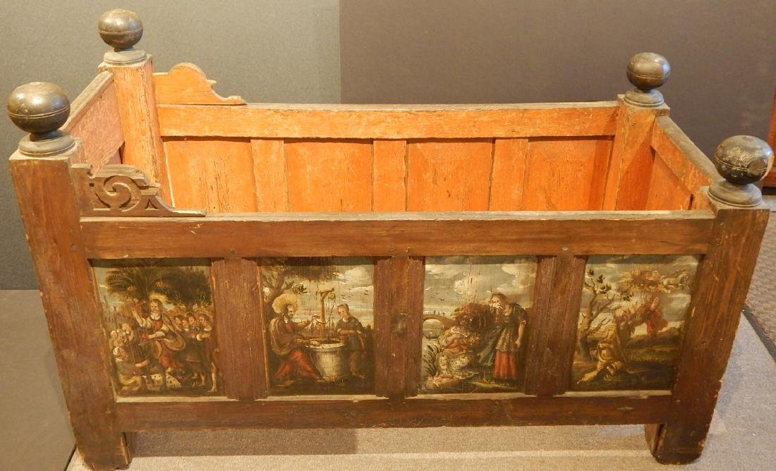 16th/17th Century Crib With 12 Painted Panels