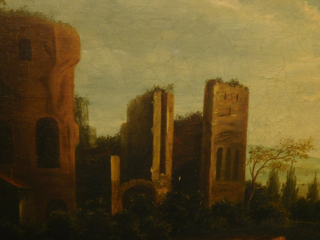 Landscape With Ruins, 17th Century Italian oil painting - 10