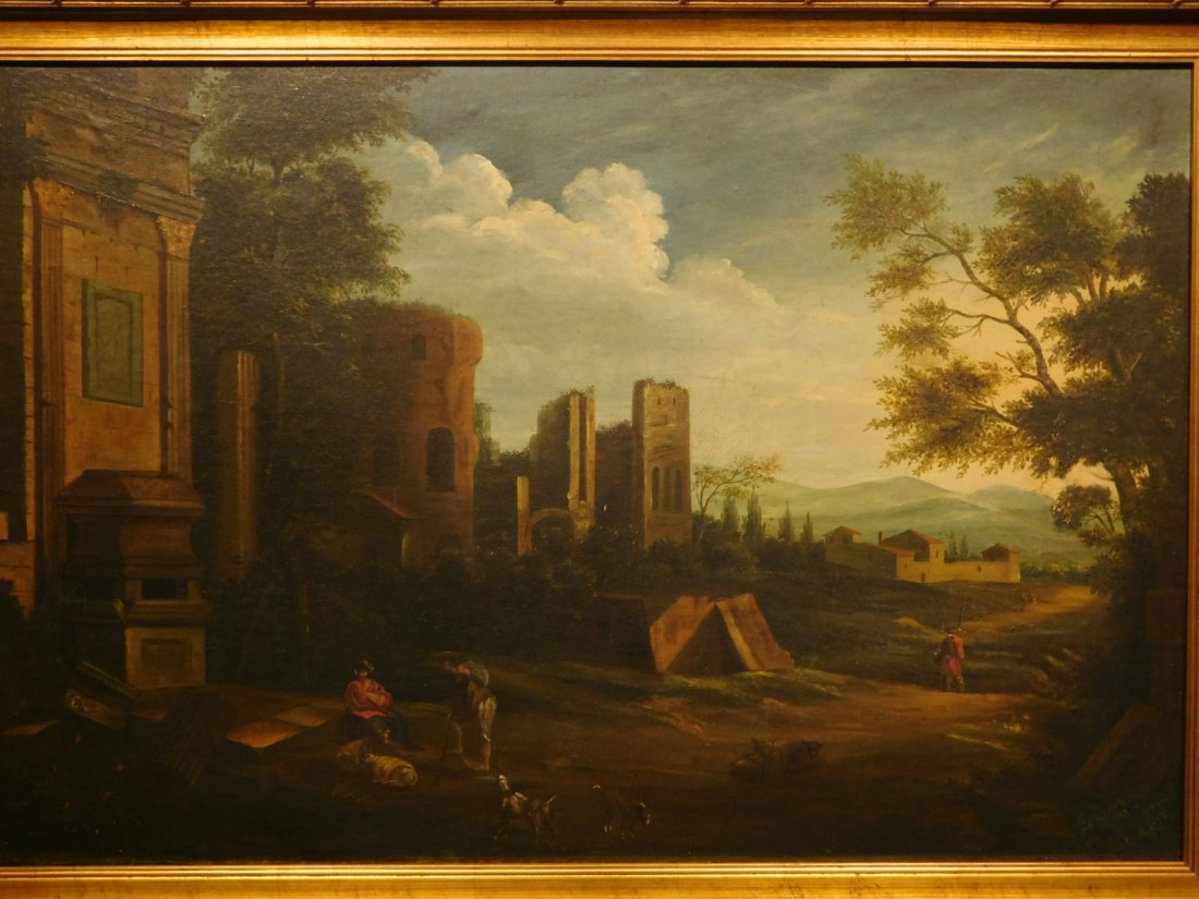 Landscape With Ruins, 17th Century Italian oil painting