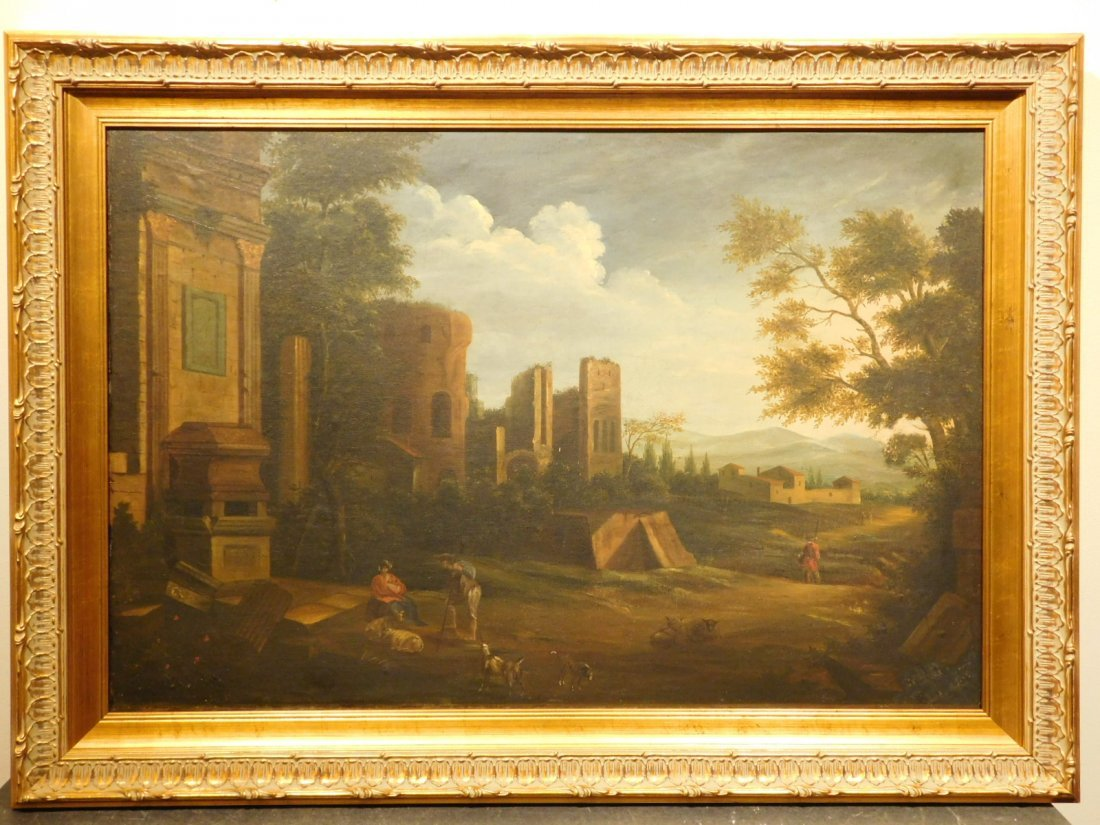 Landscape With Ruins, 17th Century Italian oil painting - 2
