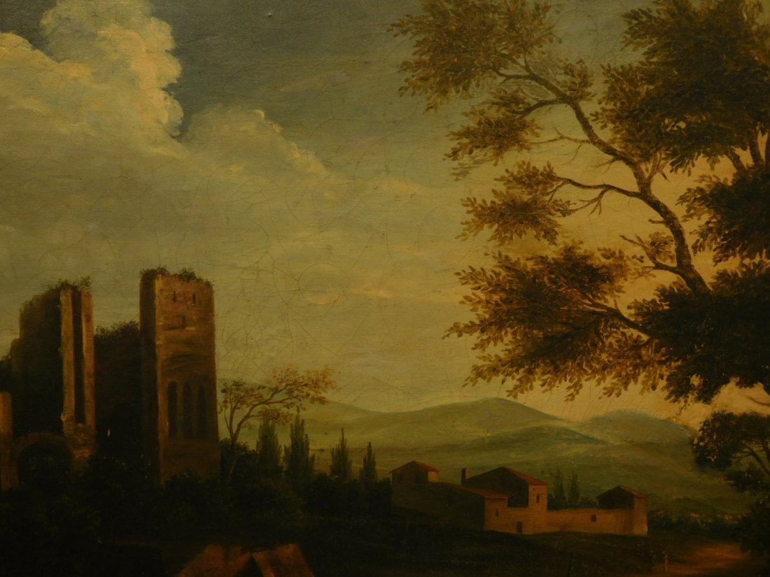 Landscape With Ruins, 17th Century Italian oil painting - 3
