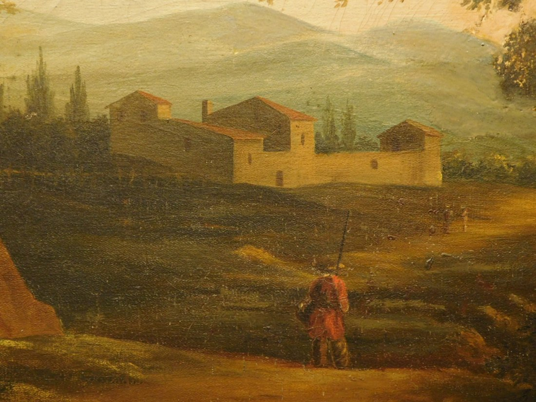 Landscape With Ruins, 17th Century Italian oil painting - 4