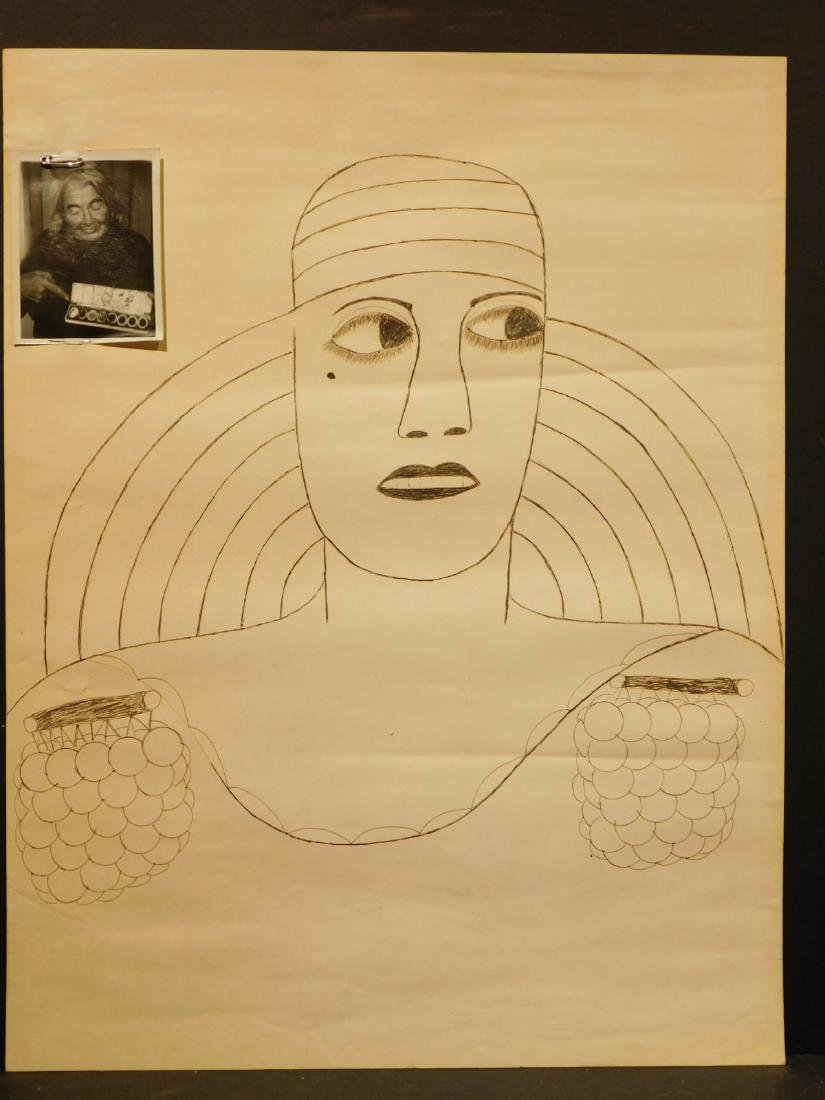 Lee Godie: Portrait drawing with Photograph