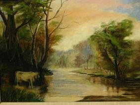 American School: Cow In Stream At Sunset, Oil