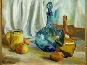 Still Life With Glass Bottles, c.1960, Oil