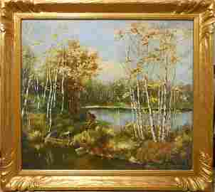Autumn Pond Oil Painting With Birch Trees