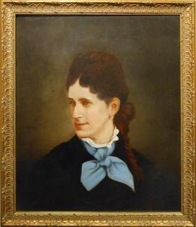 Victorian Oil Portrait Of Woman With Fashionable Hair
