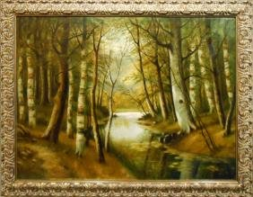 H.C. Thompson: 1926 Woodland Landscape Oil Painting