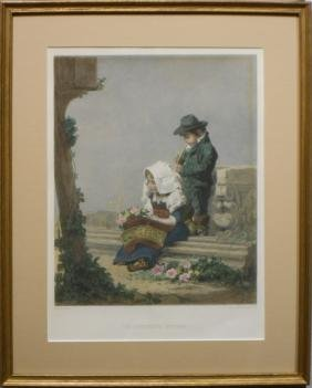 Children's Offering, 19th C. Hand Colored Engraving