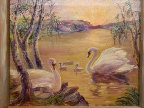 Lie: 1950 Impressionist Swans Oil Painting In