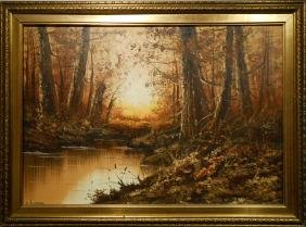 CD Stefano: Woodland Landscape oil painting