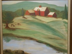 Jim Frank: Landscape With Farm, oil painting