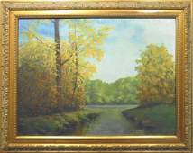 Wainright Mitten: Early Autumn Pond Oil Painting Signed