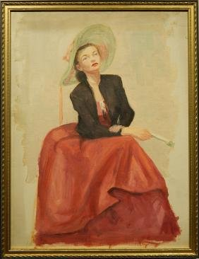 Robert K. LeRose: Portrait of a Woman With a Hat, Oil