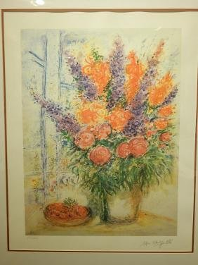 After Chagall, Limited Edition Floral Reproduction