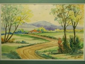 Mac Arthur: Country Road Landscape, Watercolor