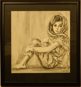Seated Woman, c.1950 Lithograph