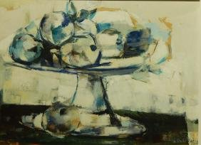 Modern Still Life With Fruit, c.1960, Oil Painting