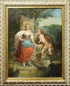French School: Woman and Man at a Well, Oil c.1750
