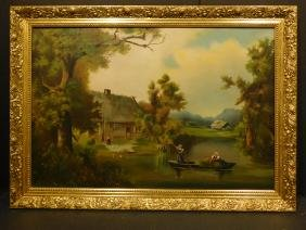 American School: Landscape With Cottage and Boat