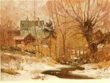 Bernard Corey: Melting Snow, oil painting