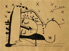Pablo Picasso: Reclining Woman, Ink drawing on paper